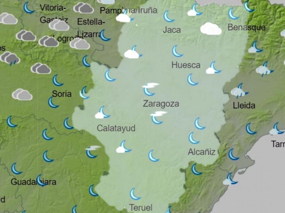 Mapa del tiempo en Aragón