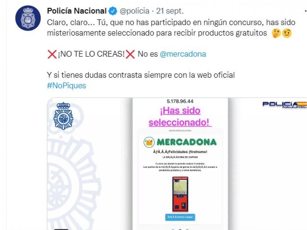Aviso de la Policía sobre el falso mensaje de Mercadona.