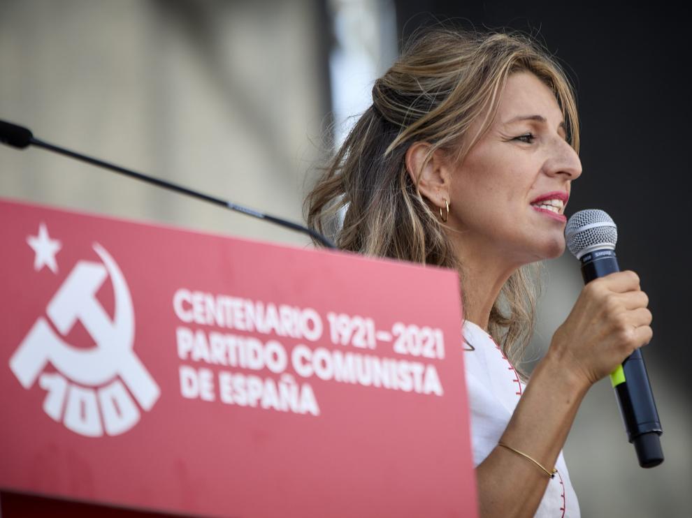 La vicepresidenta segunda del Gobierno y ministra de Trabajo y Economía Social, Yolanda Díaz, en la fiesta del centenario del PCE