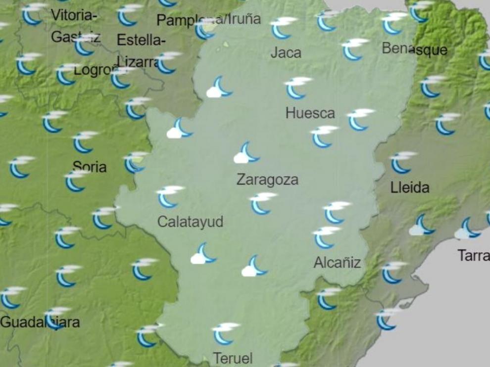 Mapa del tiempo en Aragón.