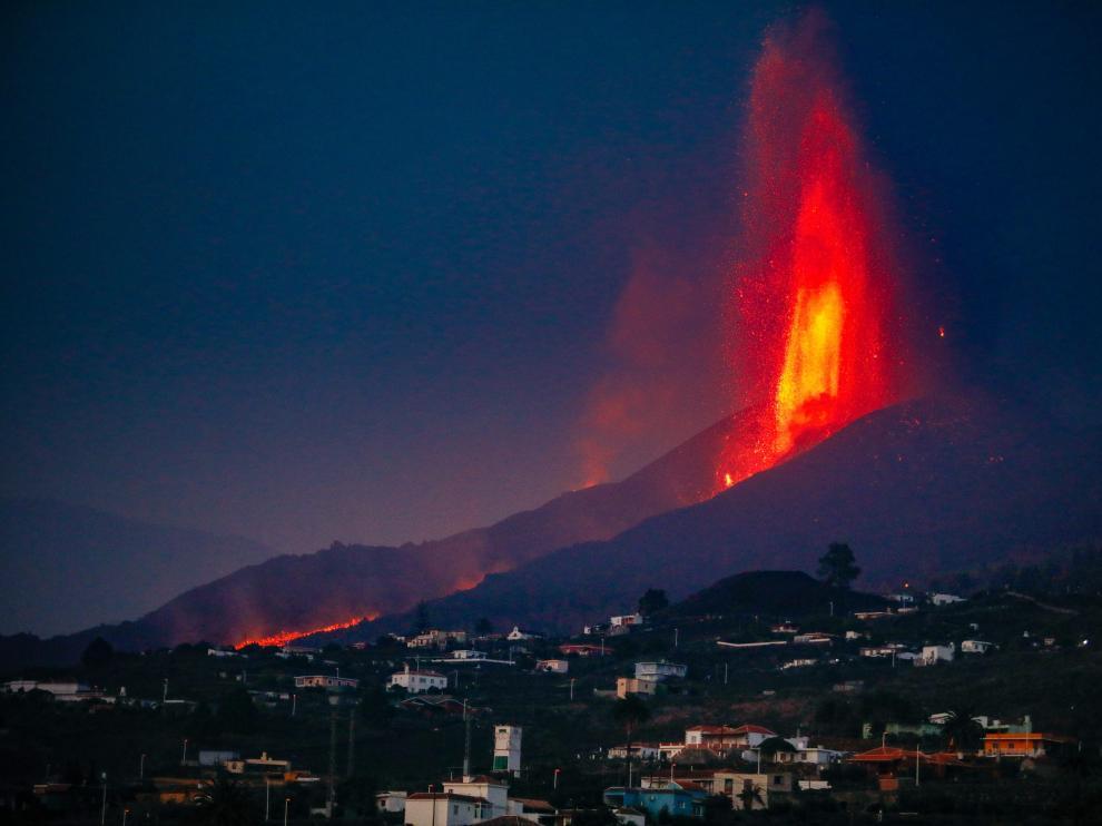 Erupción del volcán Cumbre Vieja en La Palma este lunes