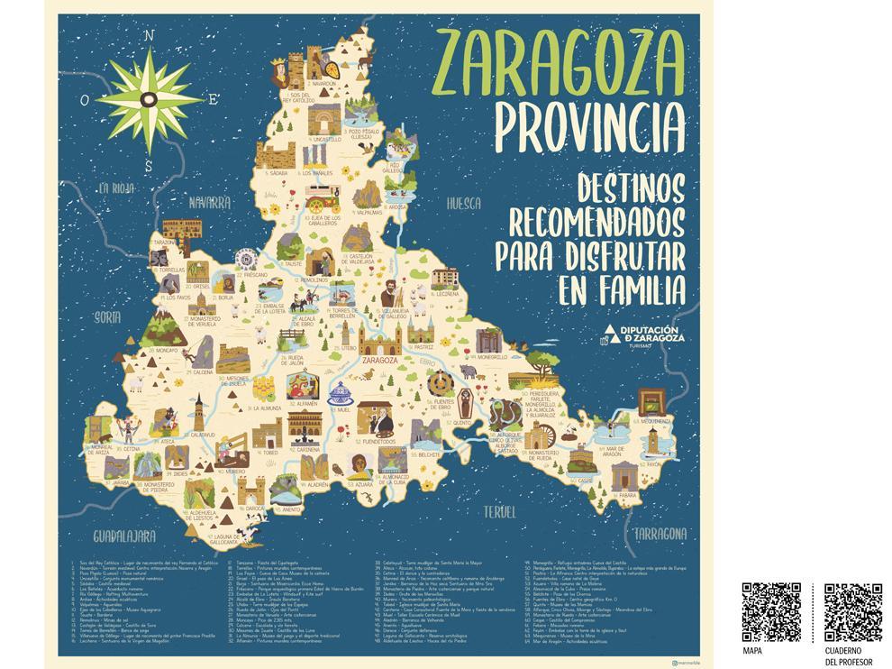 El mapa señala los lugares que luego aparecen explicados en los códigos QR.