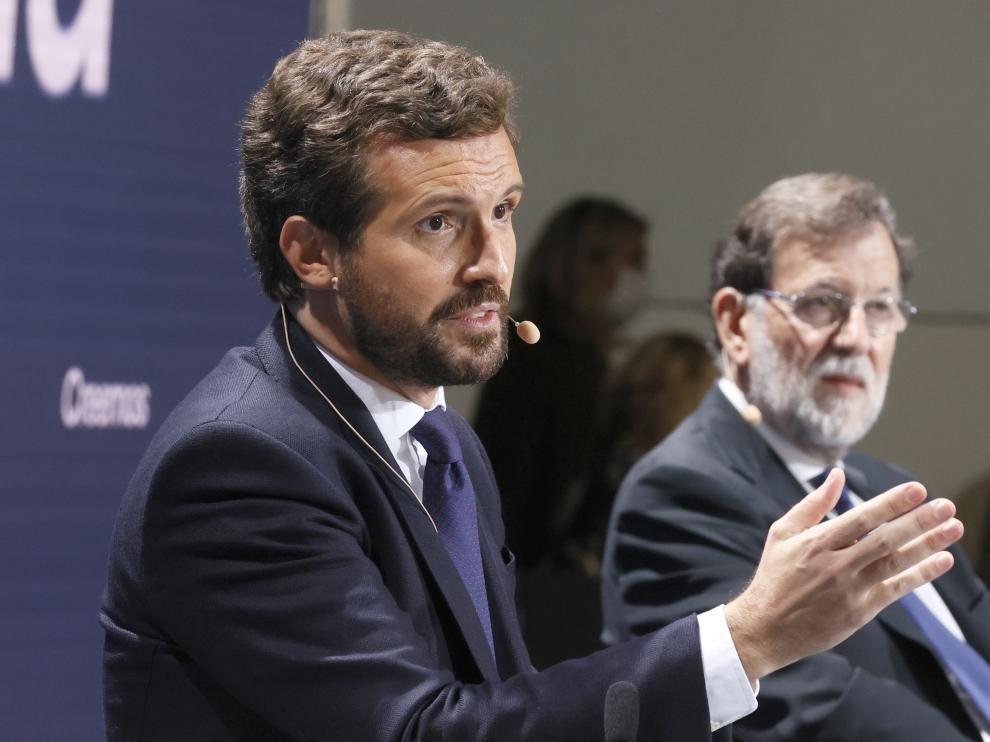 Rajoy y Feijóo arropan a Pablo Casado en la convención del PP en Santiago