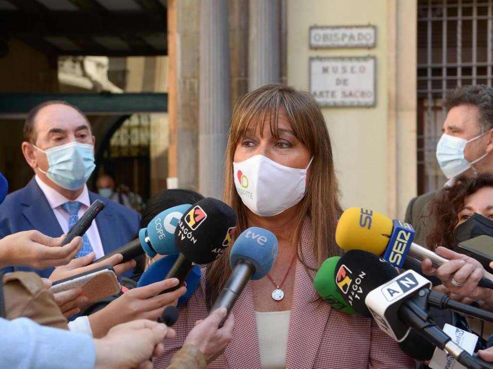 La consejera de Sanidad, Sira Repollés, este martes en la capital turolense.