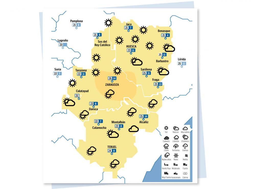 Mapa del tiempo en Aragón del jueves 30 septiembre de 2021