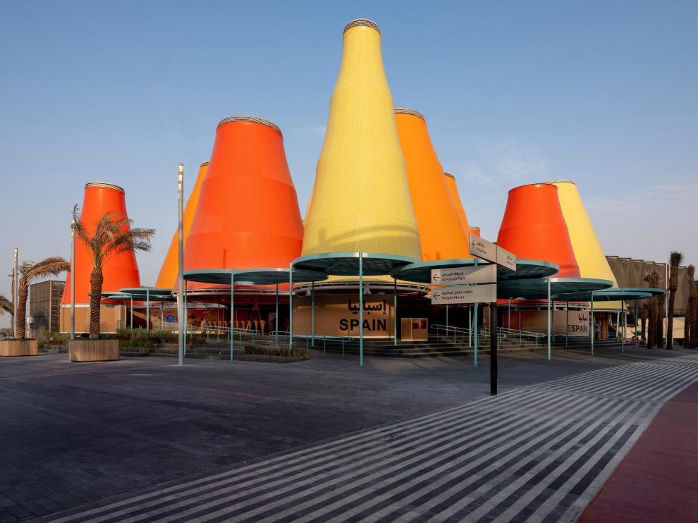 """Vista del pabellón de España en la Expo de Dubái, que se inaugurará el día 1 bajo el lema """"inteligencia para la vida"""""""
