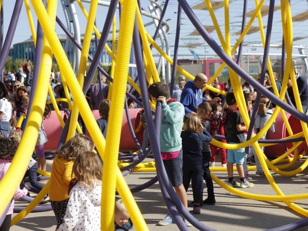 Espacio Río y Juego durante las fiestas del Pilar en una foto de archivo