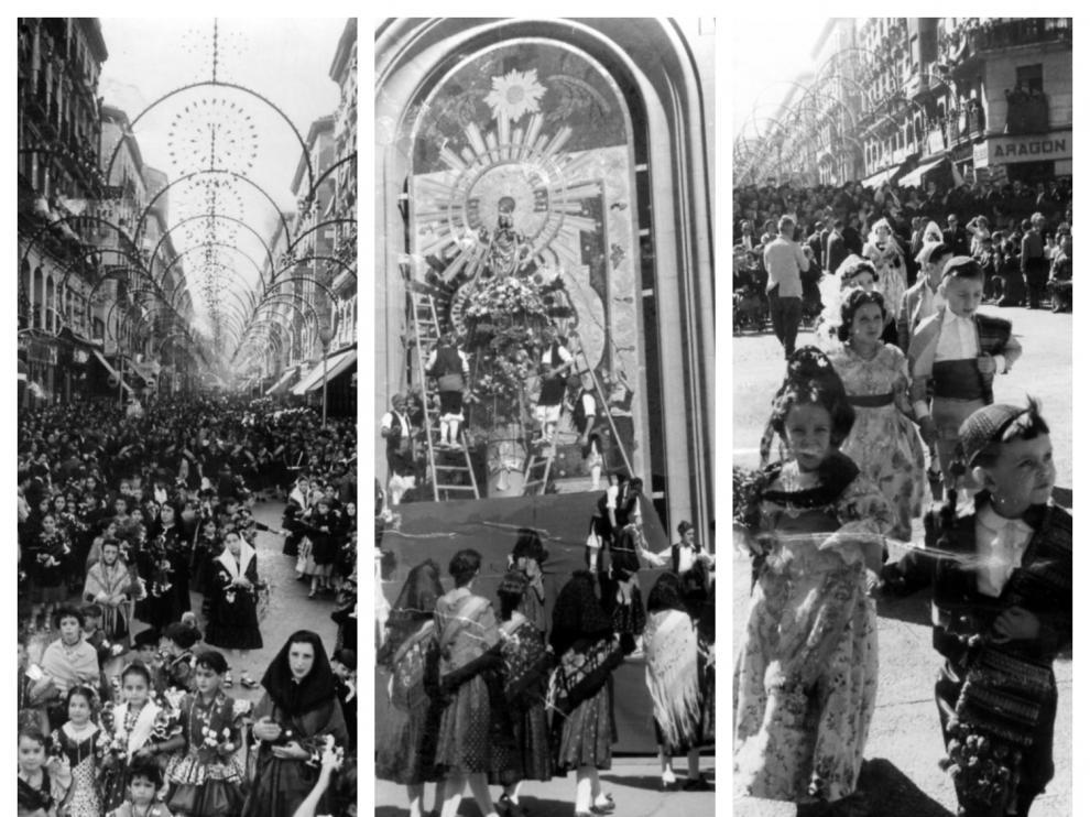 El aspecto que ofrecía la calle de Alfonso l de Zaragoza, en aquella primera Ofrenda de Flores a la Virgen del Pilar de 1958, en la que participaron más de 2.000 oferentes, vaticinaba ya el éxito de futuras ediciones