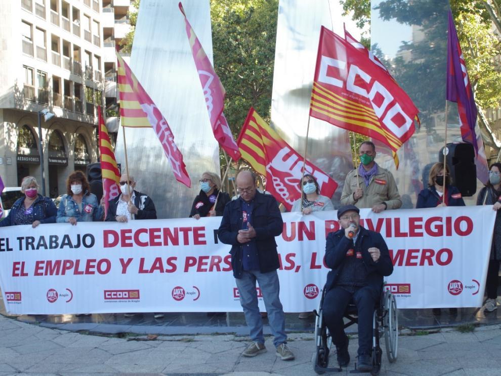 Concentración de esta protesta esta mañana en Zaragoza.