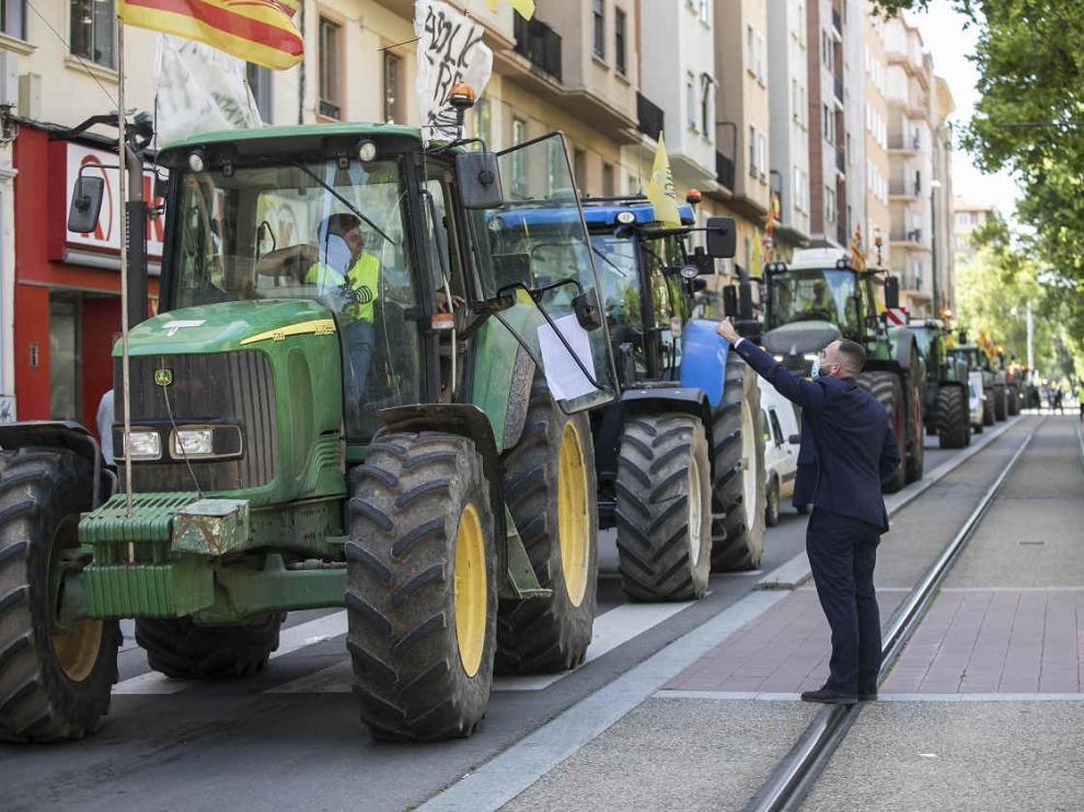 Manifestación de agricultores en Zaragoza por la PAC el 6 de mayo de 2021