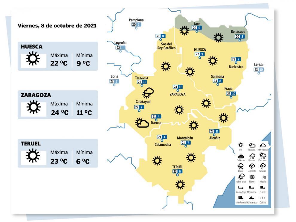 Mapa del tiempo en Aragón el 8 de octubre
