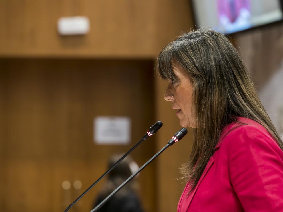 Sira Repollés en el Pleno de las Cortes de Aragón
