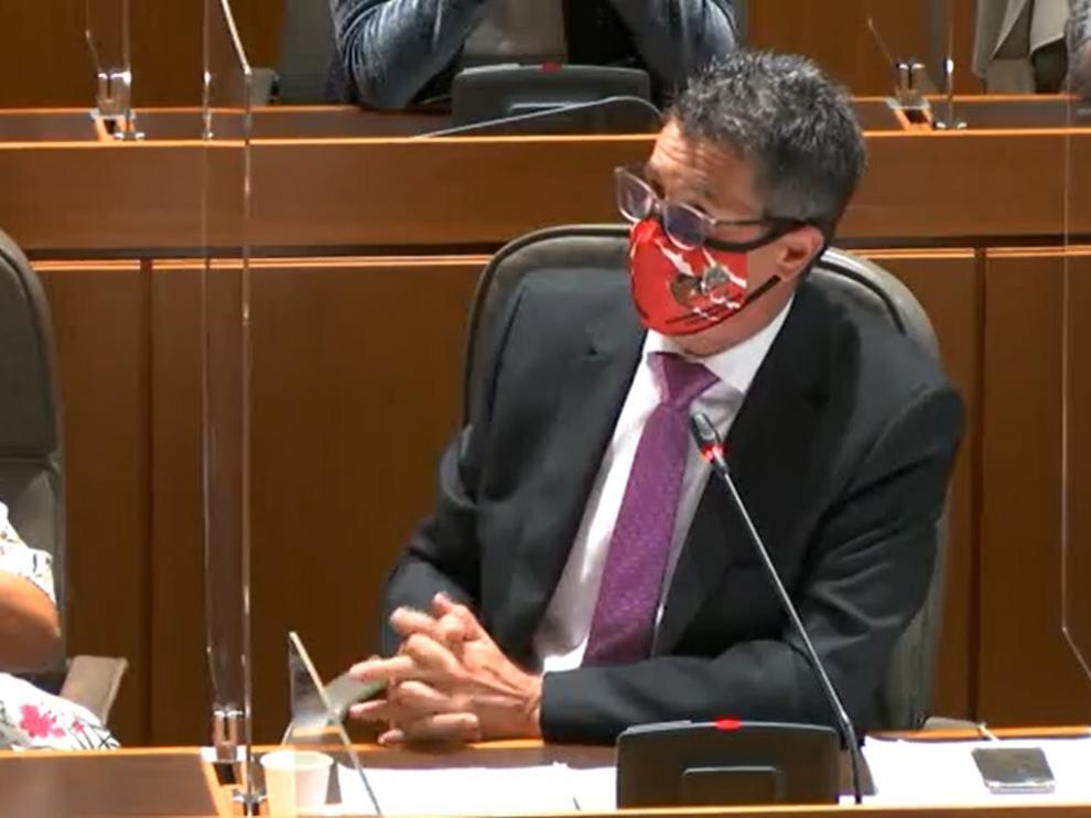 El diputado Antonio Romero defendió la propuesta del PP con una mascarilla de la plataforma contra el lobo y el oso de Aragón.