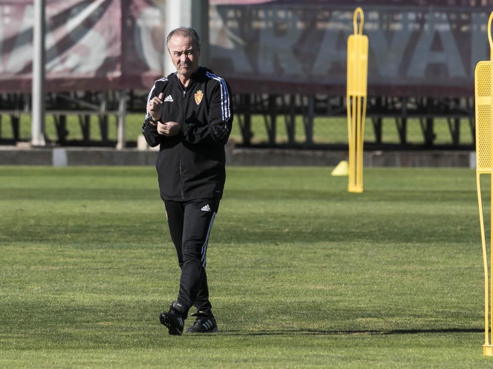 Entrenamiento del Real Zaragoza en la Ciudad Deportiva para preparar el derbi contra la SD Huesca