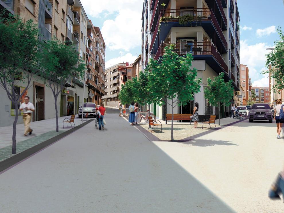 Recreación del resultado de la reforma de la calle de Cuarte, en Torrero.