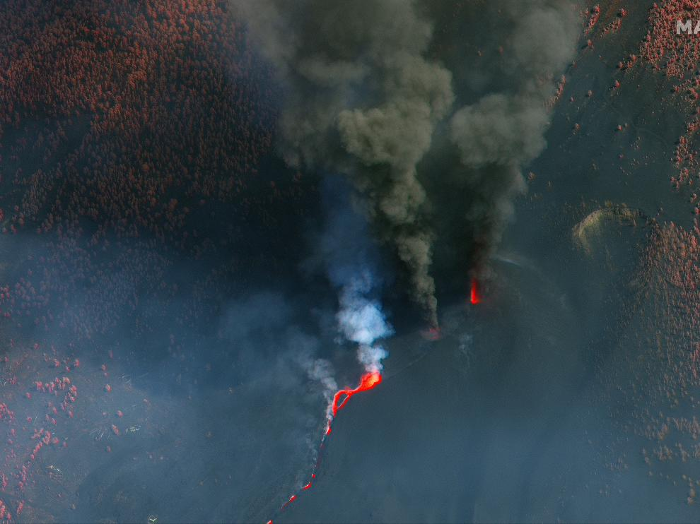 Satellite view of Cumbre Vieja volcano