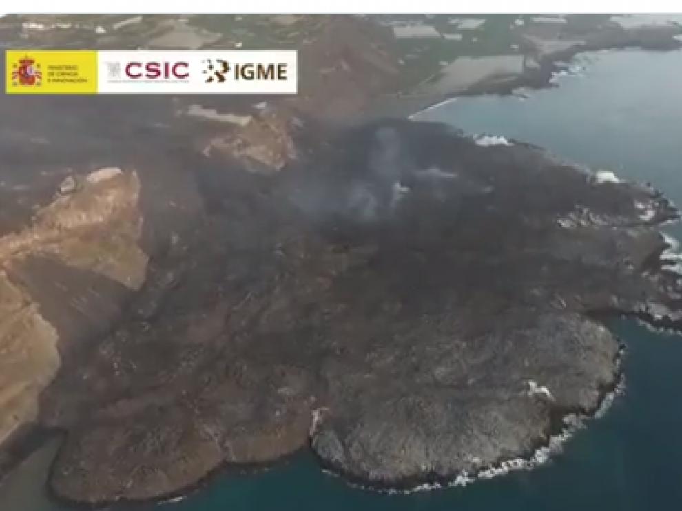 Volcán de La Palma a vista de dron