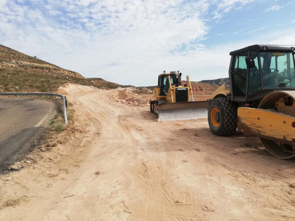 Obras carretera provincial que conecta Bujaraloz y Alborge