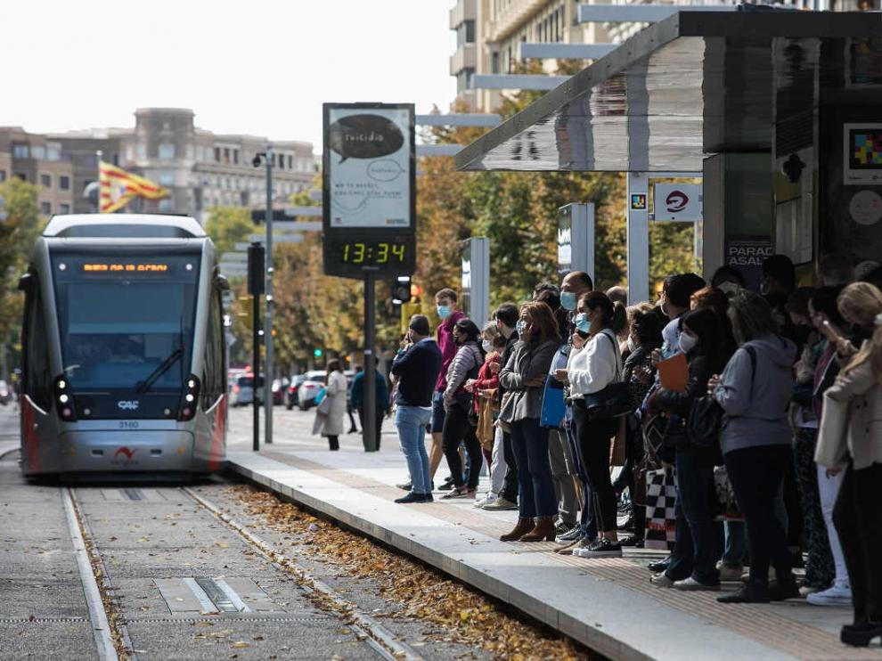 Huelga del tranvía en Zaragoza.