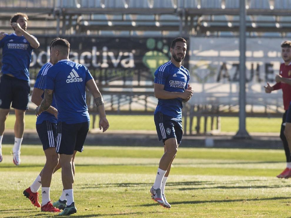 Javi Ros, en el entrenamiento de la tarde de este domingo, previo al partido contra el Huesca.