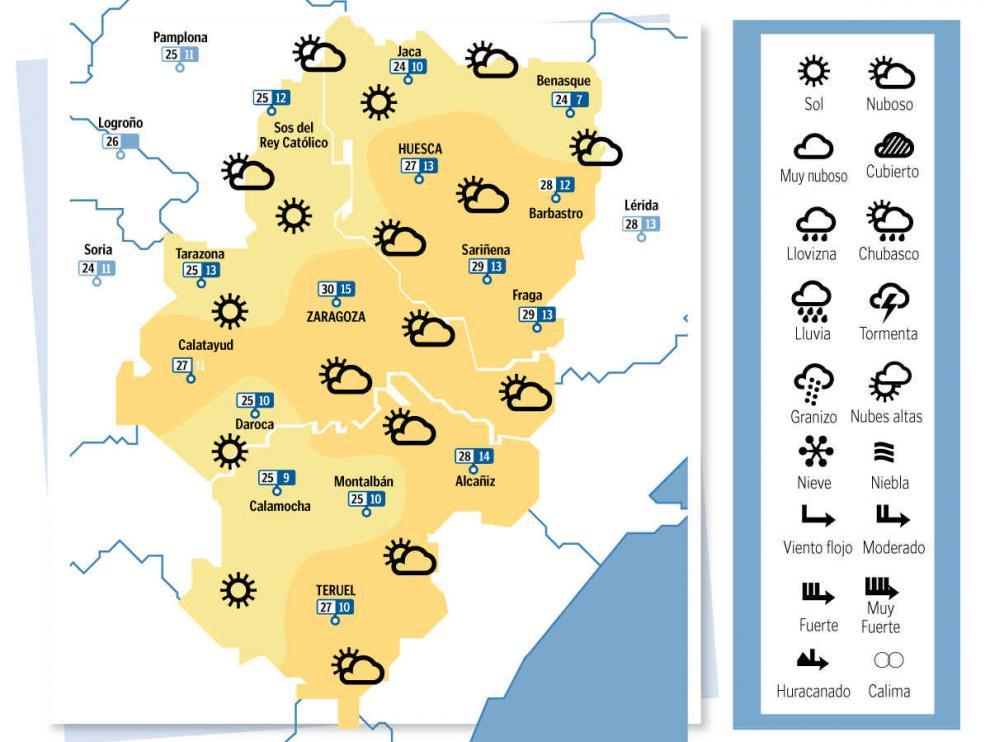 Mapa del tiempo en Aragón el 12 de octubre de 2021