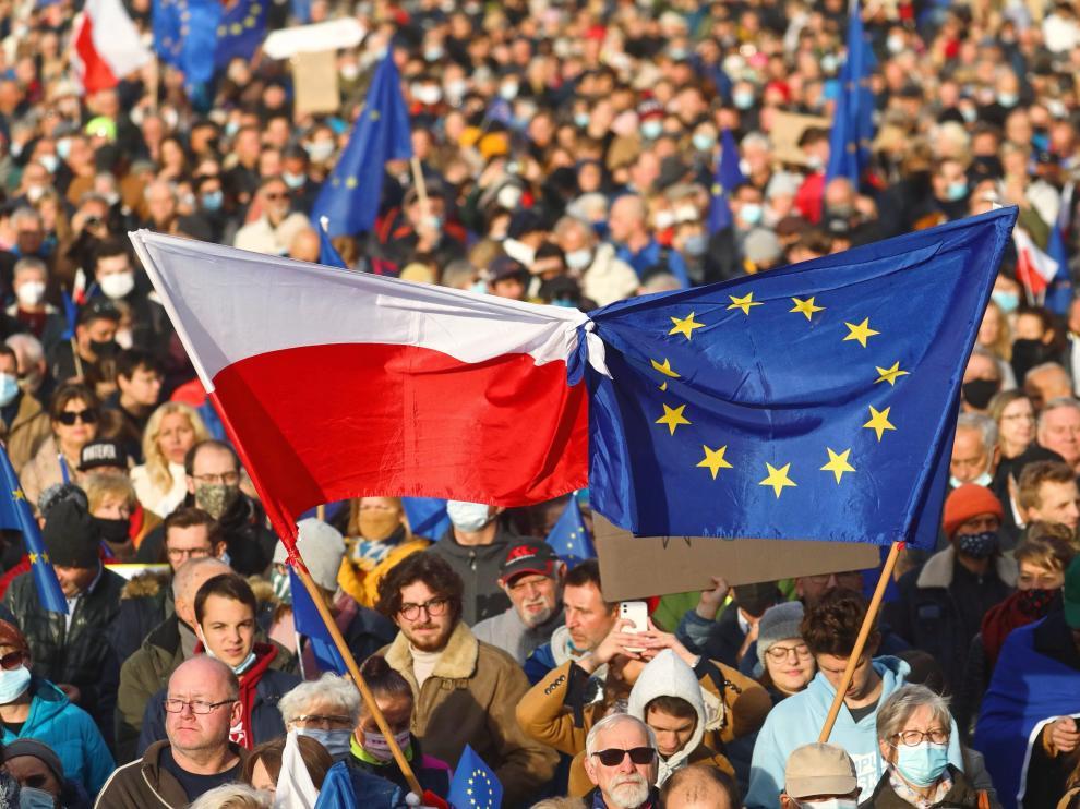 Protesta de miles de personas en Cracovia POLAND EU DEMONSTRATION