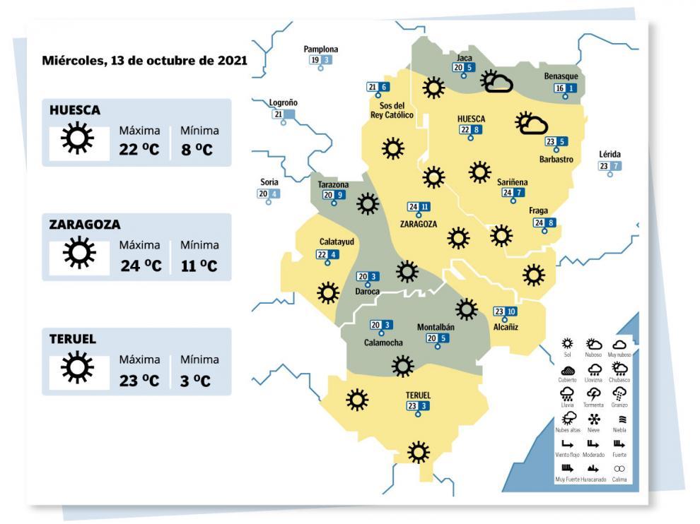 Mapa del tiempo en Aragón para este 13 de octubre