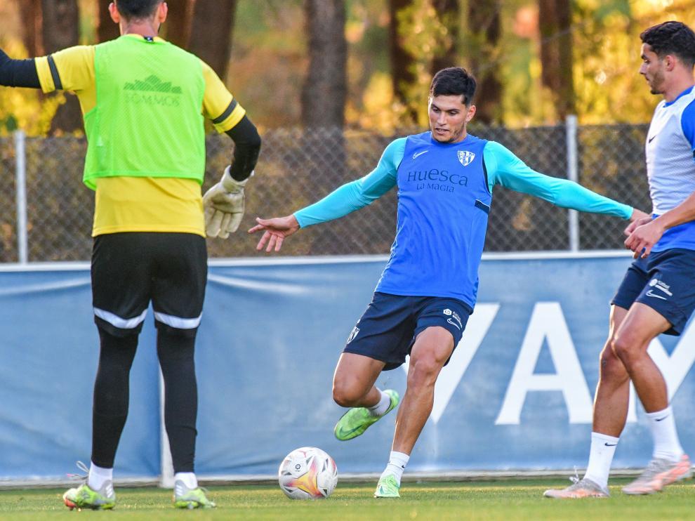 Cristian Salvador, durante el entrenamiento de este miércoles.