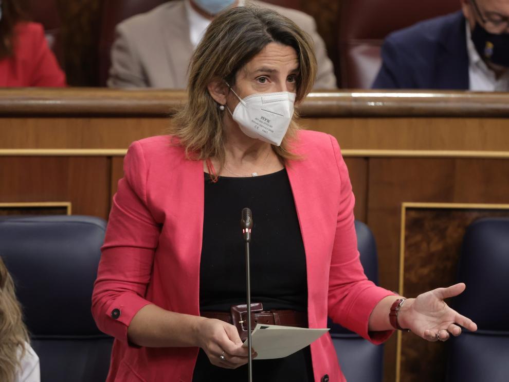 La ministra de Transición Ecológica, Teresa Ribera, durante la Sesión de Control al Gobierno.