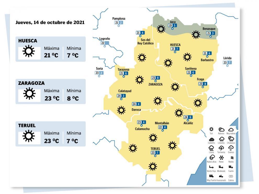 Mapa del tiempo en Aragón el jueves 14 de octubre