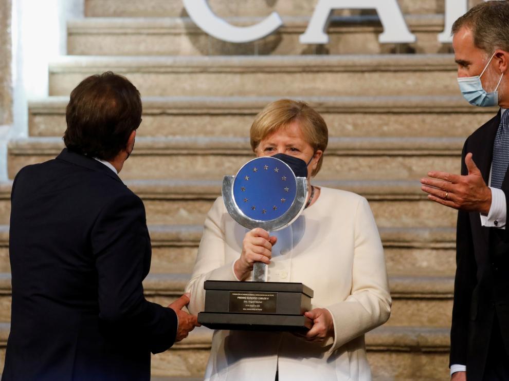 "German Chancellor Angela Merkel receives ""Charles V European Award\"