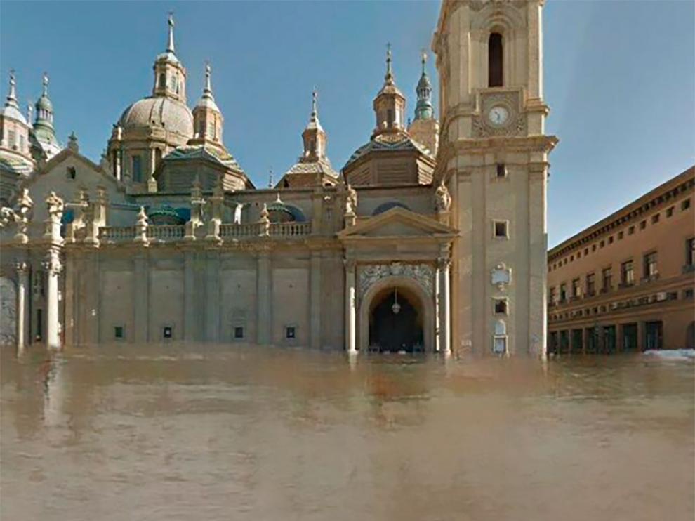 Imagen de la plaza del Pilar bajo las aguas