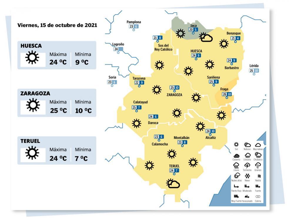 Mapa del tiempo en Aragón el 15 de octubre de 2021