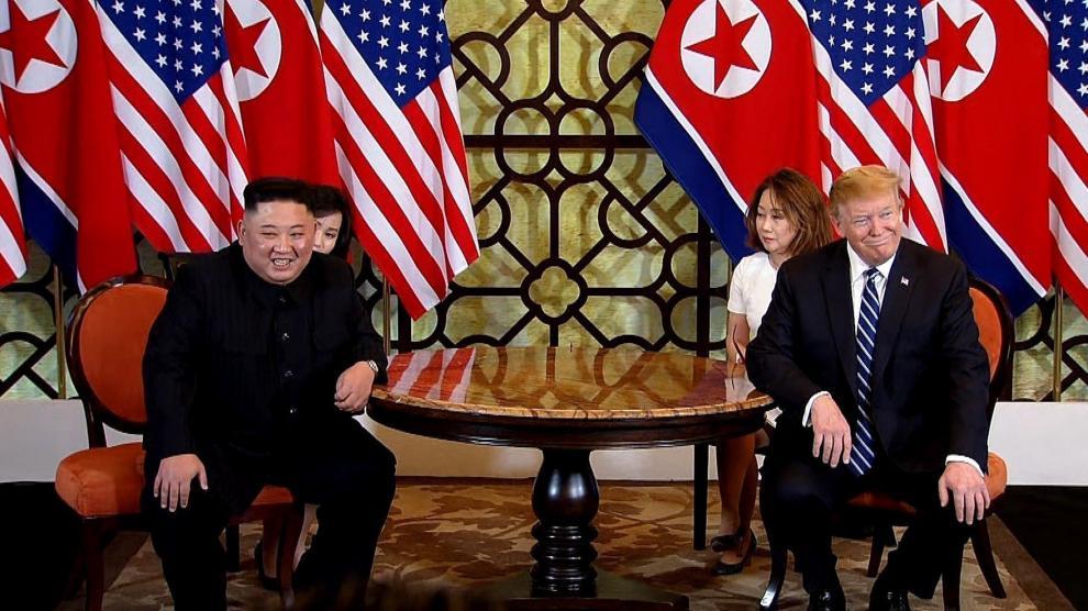 Encuentro entre Trump y Kim Jong-Un en Hánoi.