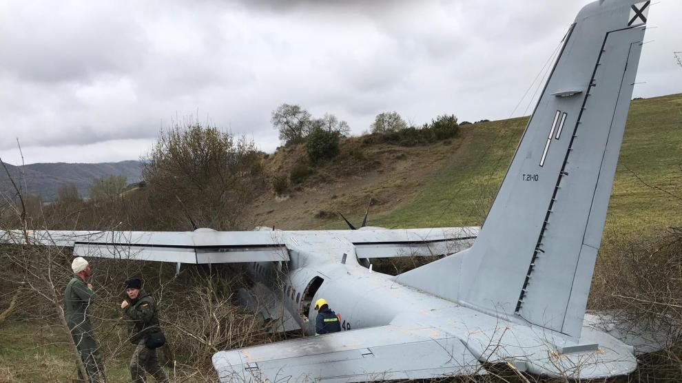 El avión militar accidentado durante el gran simulacro de emergencias en el Pirineo