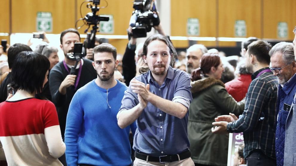 Pablo Iglesias, en un acto electoral en la sala Multiusos de Zaragoza.
