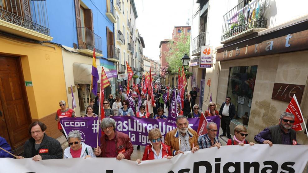 Manifestación en Huesca por el Día del Trabajador.