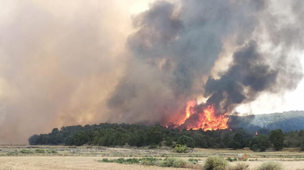 Incendio en la Sierra de Alcubierre