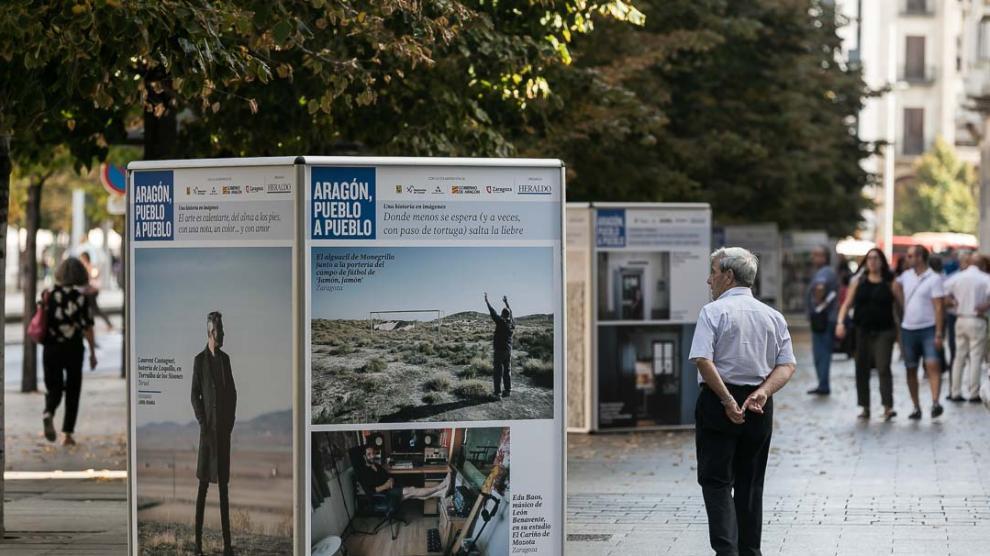 Las imágenes de 'Aragón, pueblo a pueblo' pueblan la principal vía de Zaragoza.