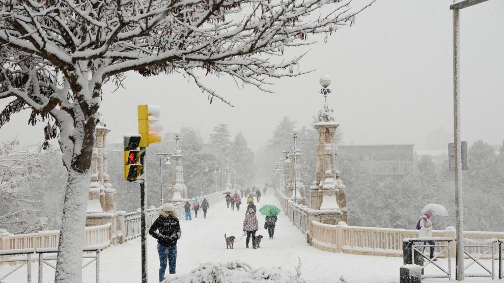 Nevada en Teruel capital.