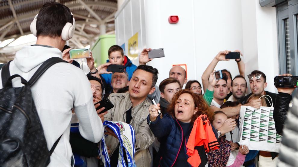 Llegada del Real Madrid a Zaragoza.