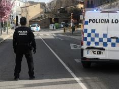 Imagen de un control de la Policía Local de Huesca.
