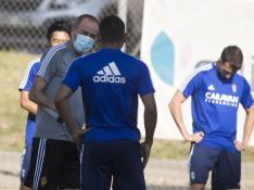 Jornada de entrenamiento en la Ciudad Deportiva del Real Zaragoza, cumpliendo el protocolo de retorno del fútbol profesional.