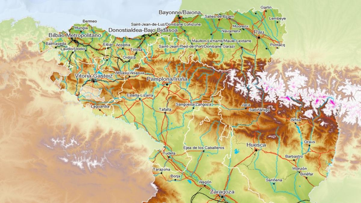 Mapa De Huesca Pirineos.Elaboran Un Mapa Transfronterizo De Aragon Navarra Pais